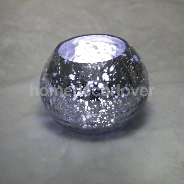 5d10efc6cb Ice Crack Silver Round Glass Tealight Holder Pillar Candle Holder Art Decor