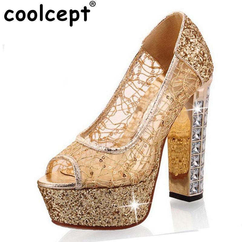 Coolcept free shipping peep open toe high heel shoes platform women sexy footwear fashion female pumps P14235 EUR size 31-43
