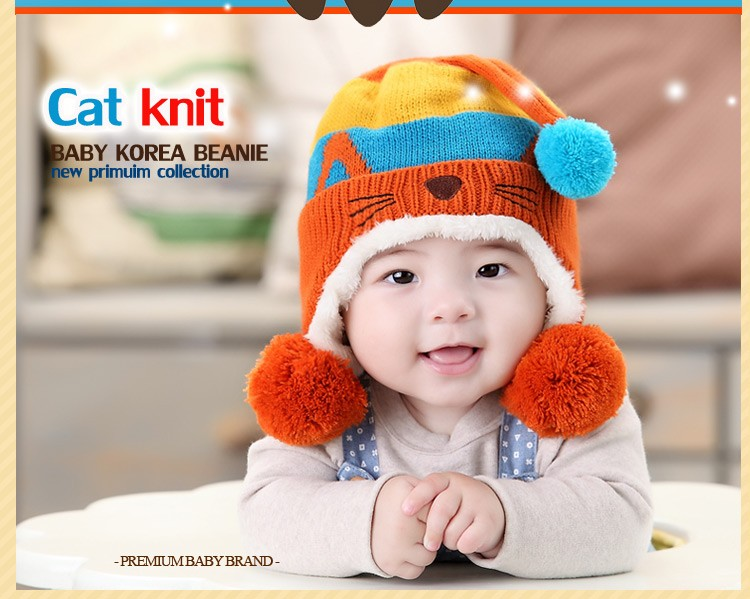 dd4d1478a948 Lovely Kitty Warm Baby Beanie Hat Boys   Girls Winter Knitted ...