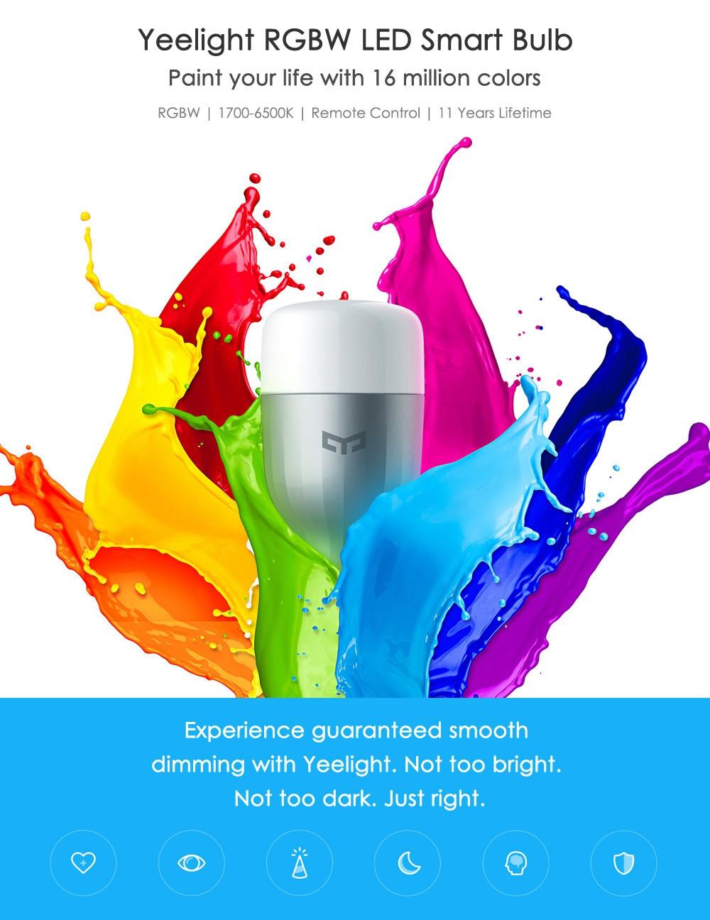 Original Xiaomi Yeelight II Smart LED Bulb E27 9W 600 Lumens Mi Light Smart Phone WiFi Remote Control 1