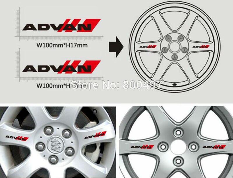 4 X Newest Car Styling Car Decorative Wheel Rim Decoration Sticker Vinyl Decal Series Car Accessories Decal For Yokohama Advan