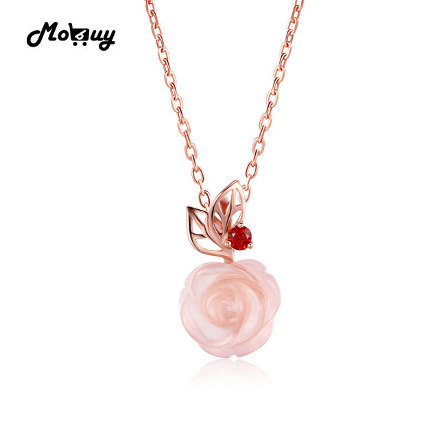 quartz rose pendant platim pink jewelry