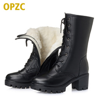 100% natural full genuine leather women's army boots,2019 winter new warm thick wool snow boots. plus size 35 43 # boots women
