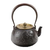 1.2L Southern Japan Cast Iron Tea Pot Creative Crane Kylin Teapot Creative Metal Drinkware