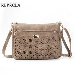 REPRCLA New Double Zipper Women Messenger Bags Hollow PU Leather Shoulder Bag Female Crossbody Vintage Women Bags Purse