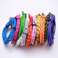 HOT! 1/2/3m Long Durable Micro USB Charging Cable Flat Colorized Fabric Nylon Braided Data Line Cord For android Phones