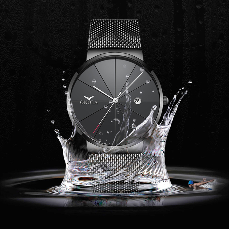 Top Brand Luxury Men Watch Fashion Casual Stainless Steel Slim Mesh Wristwatch Male Quartz Watches Clock in Quartz Watches from Watches