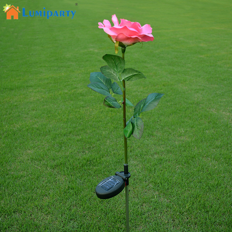 Lumiparty Outdoor Solar Powered Pink Rose Flower Lights Solar Powered Garden Decorative Stake
