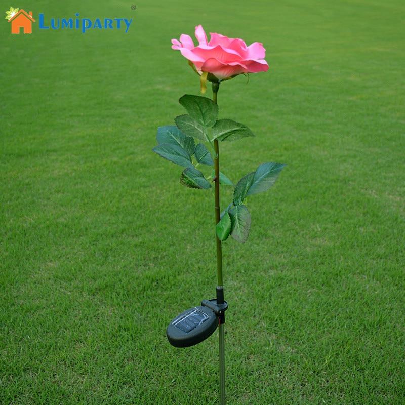 घर के लिए आउटडोर सौर ऊर्जा संचालित गुलाबी गुलाब के फूल रोशनी सौर ऊर्जा संचालित उद्यान सजावटी स्टेक लैंप एलईडी गुलाब रोशनी
