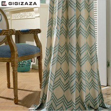 GIGIZAZA circle world print cotton blinds shading window curtains high quality black out blue color luxurious