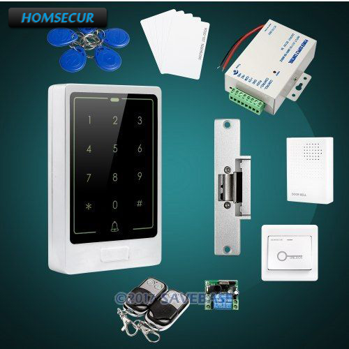 HOMSECUR DIY Access Control System with Electric NO Strike Lock + HOMSECUR Exit Button + Wired Doorbell