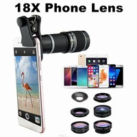 8 in 1 HD Camera Telescope Lens 18X 4K Phone Lens Suits With Clip 185 DegreesLens Long Focus Monocular Phone Telescope for Phone