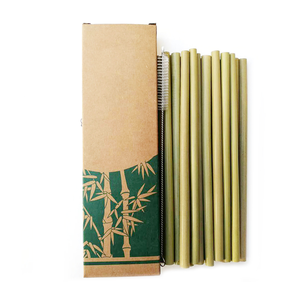 Bamboo Drinking Straws 10pcs/set Party Reusable  Eco-Friendly Kitchen   Clean Brush For Drop Ship wholesale ( LOGO For 50pcs )