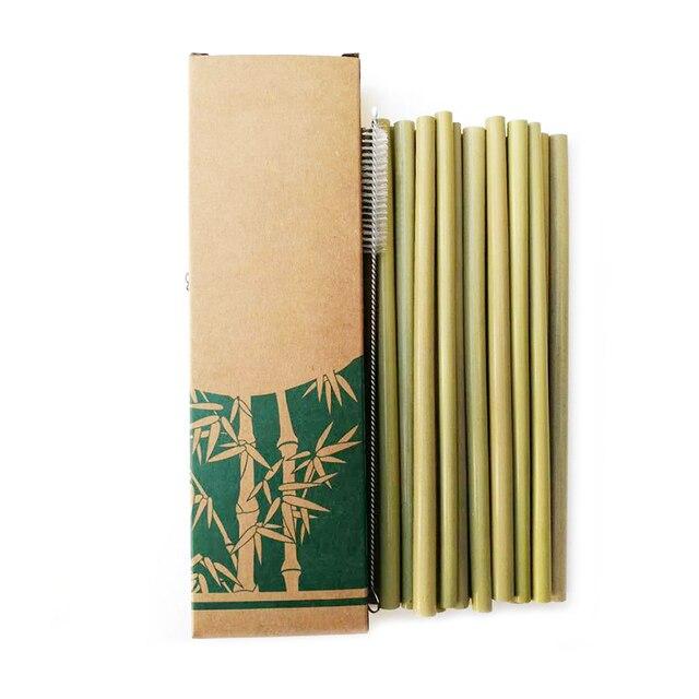 Útil 10 pçs/set Bambu Beber Festa Palhas Reutilizável Eco Cozinha + Pincel Limpo para o Transporte da gota atacado