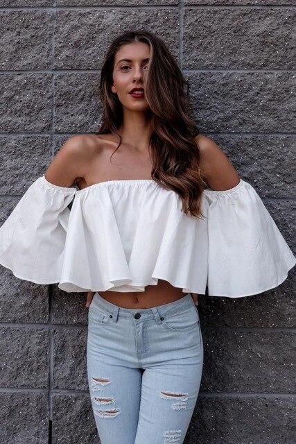 7b72eccf2c352 New white off shoulder sexy blouse women 2017 women tops flare sleeve crop top  kimono short