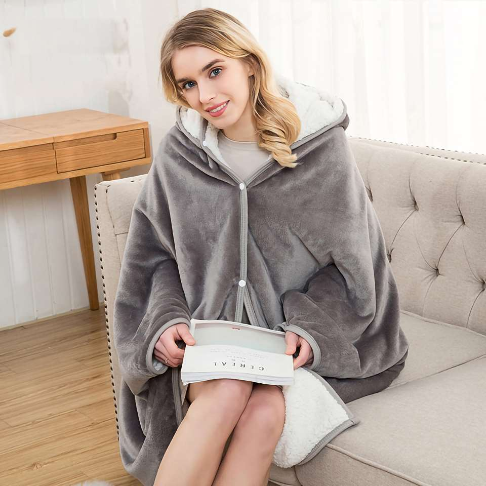 Homesick Warm Wearable Throw Chunky Hooded Blankets Weighted Coral Fleece Blanket For Couch Soft Sleeves Blankets