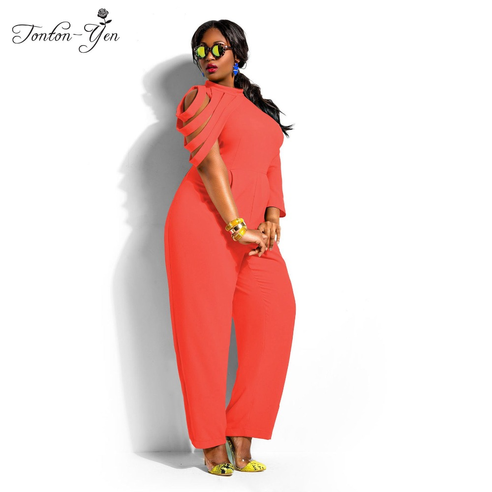 2018 Summer High Waist Slim women rompers Chiffon elegant Jumpsuit Slit Short Sleeve plus size jumpsuit long Fat MM Clothing