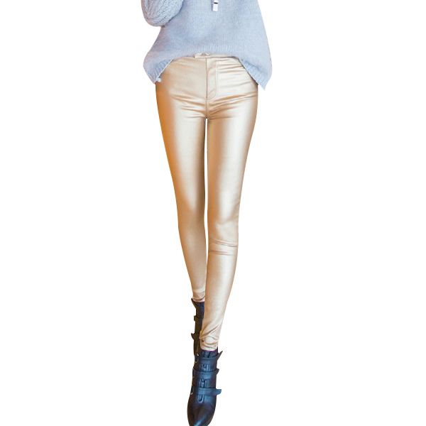 2016 Espesar Invierno Pu Pantalones de Cuero de Las Mujeres de Cintura Alta Lápiz Flaco Negro Leggings Pantalones Capris Femeninos Más El Tamaño S-3XL