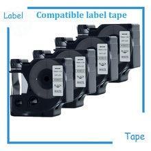 4PK Preto no Branco Fita Cassete Etiqueta Compatível para DYMOD1 45803 Rótulo 19mm 7 m (3/4x23