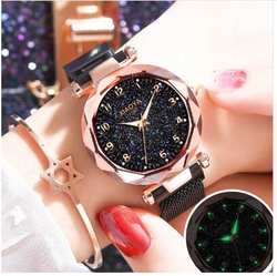 Роскошные розовое золото для женщин часы Звездное небо магнитная сетка группа кварцевые наручные часы со стразами relogio feminino montre femme 2019