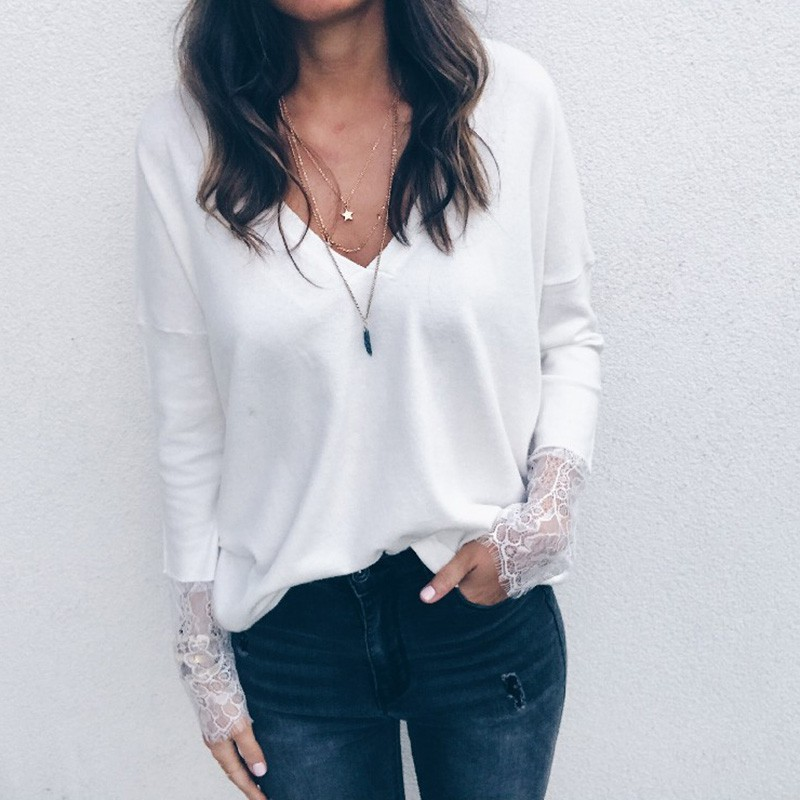 2019 Lace Patchwork Casual Femme T Shirt Long Sleeve Sexy V Neck Solid Tee T-shirt Casual Women Tshirt camiseta mujer