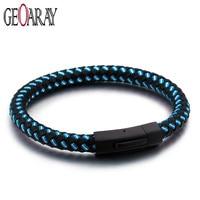Geoaray Blue Lattice Braided Leather Bracelet Men Handmade Fashion Jewelry Stainless Steel Clasp Male Jewelry Gift