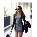 2016   Autumn and Winter Round Neck Long Sleeve Splice Render Skirt   stitching back and grey  color thick   skirtYEU2