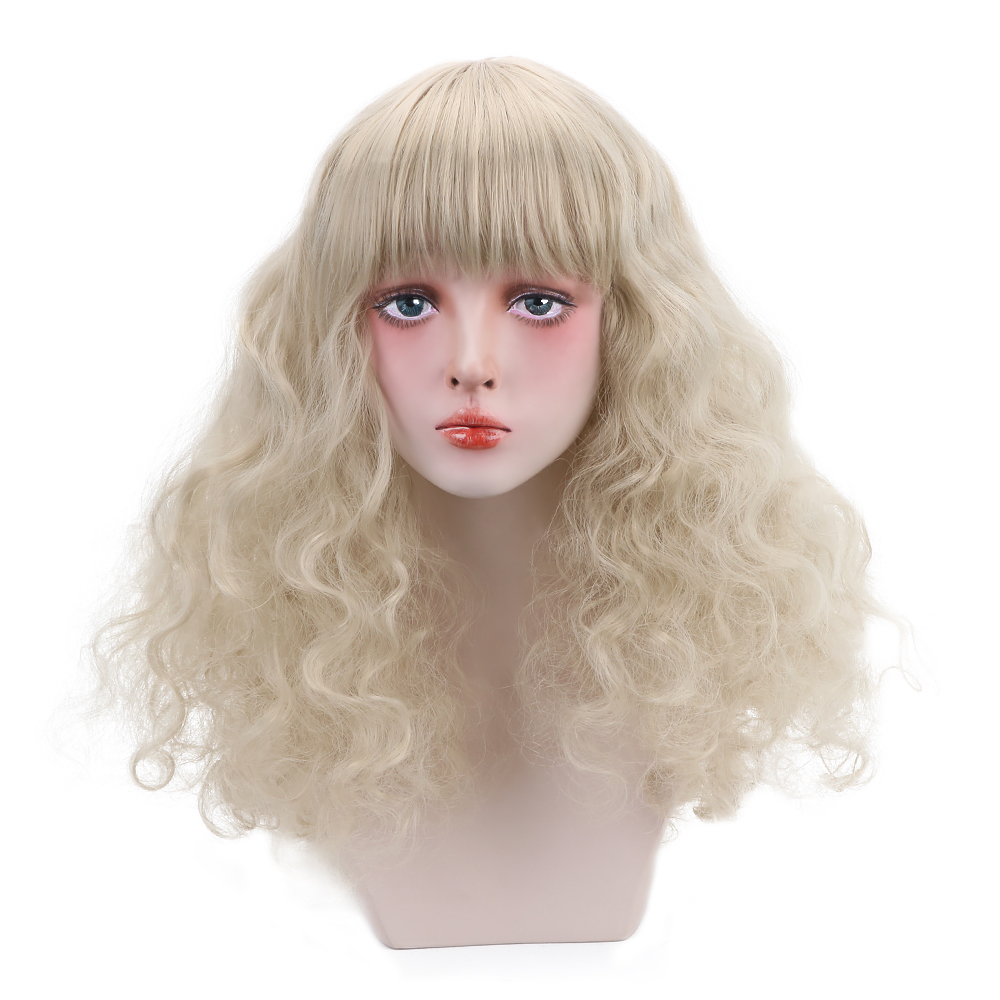 20'' Synthetic Lolita Wig With Bangs Brown Silver Long Curly Cosplay Wigs For Women Shoulders Length Daily Hair Extensions Wigs