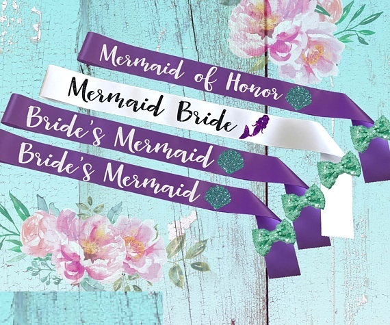 personalize glitter brides mermaid of honor bachelorette beach wedding sashes bridal shower sash party favors decorations