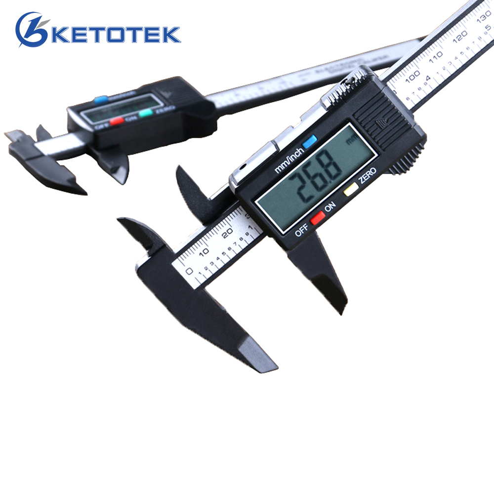 Digital Calipers 150mm 6inch LCD font b Electronic b font Vernier Caliper Carbon Fiber Micrometer Gauge