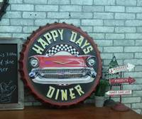 Large 3D effect tin sign HAPPY DAYS Vintage Metal Painting Beer cap Bar Wallpaper Decor Retro Mural Poster Craft 50x50 CM