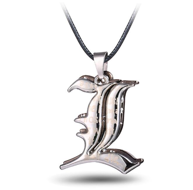 Galleria fotografica HSIC Japan Anime Death Note Necklace Letter Double L Pendant Necklace New Accessories Gift Dropshipping