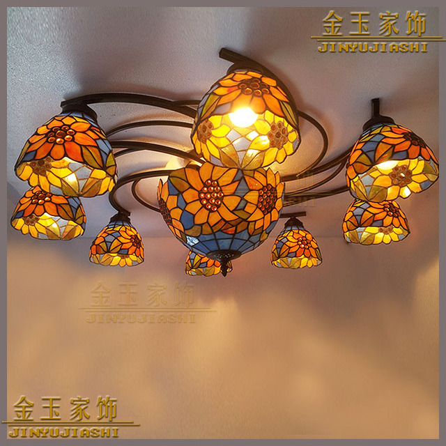 European Style Sunflower Stained Glass Tiffany Ceiling Lighting Bedroom 9 Large Living Room Dining