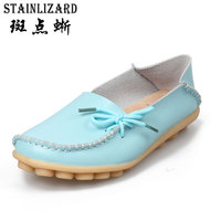 2016 New Real Leather Woman Flats Moccasins Mother Loafers Lacing Female Driving Casual Shoes In 16