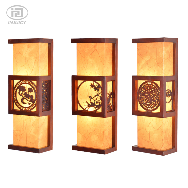 Chinese Style Antique LED Wall Lights Solid Wood Sculpture Staircase Art Wall Lamp For Bedside Aisle Corridor Decor Lighting