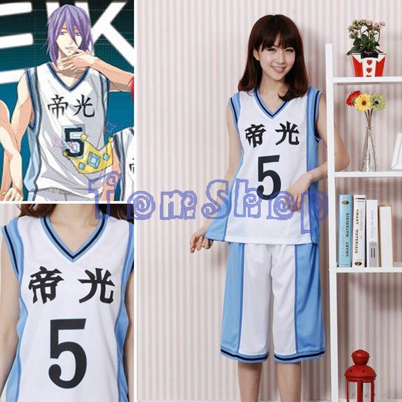 Куроко Баскетбол куроко Нет Basuke Teiko школы № 5 Murasakibara Ацуши Баскетбол Джерси аниме-шоу Хэллоуин Косплэй костюм