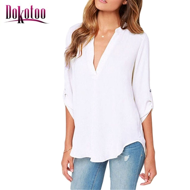 27bbc7b0cb Dokotoo 2017 New Summer Chiffon Blouse Ladies Sexy Black V Neck Loose  Casual Long Sleeve White Shirt Women Top on sale LC25767
