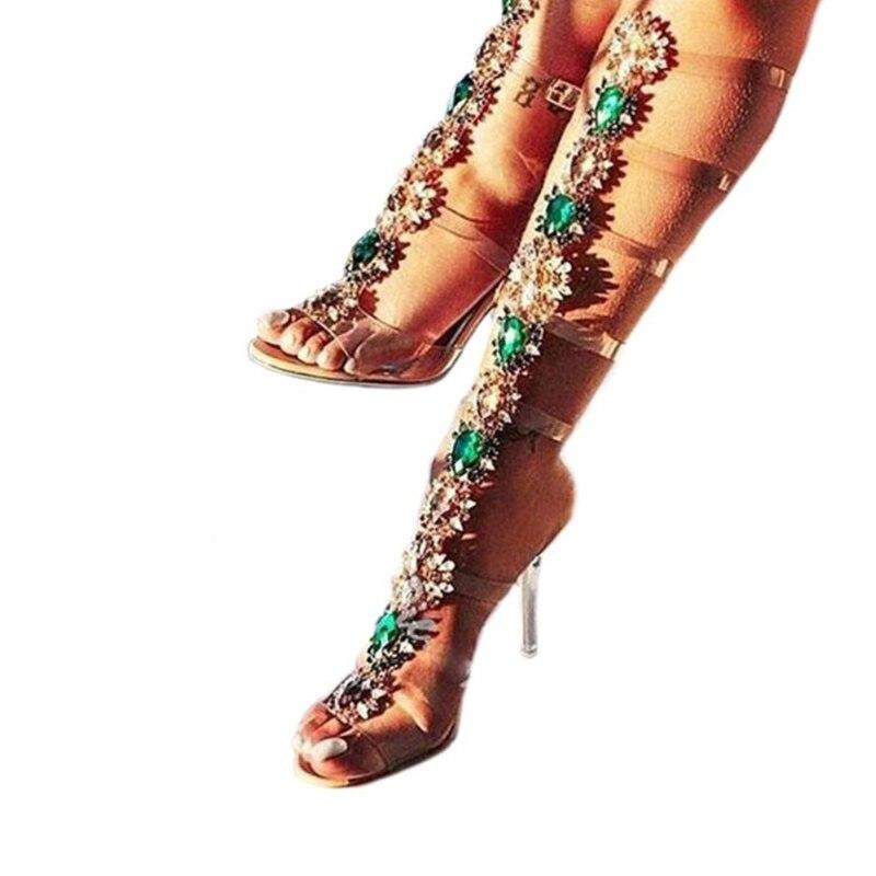 Transparent De Nude Femmes Talons À 4 Yifsion Bal Plus 10 Chaussures La Bout Strass Taille Sexy Mince 5 Sandales Nous Gladiateur D0691 Ouvert Hauts q7xxFSg4E