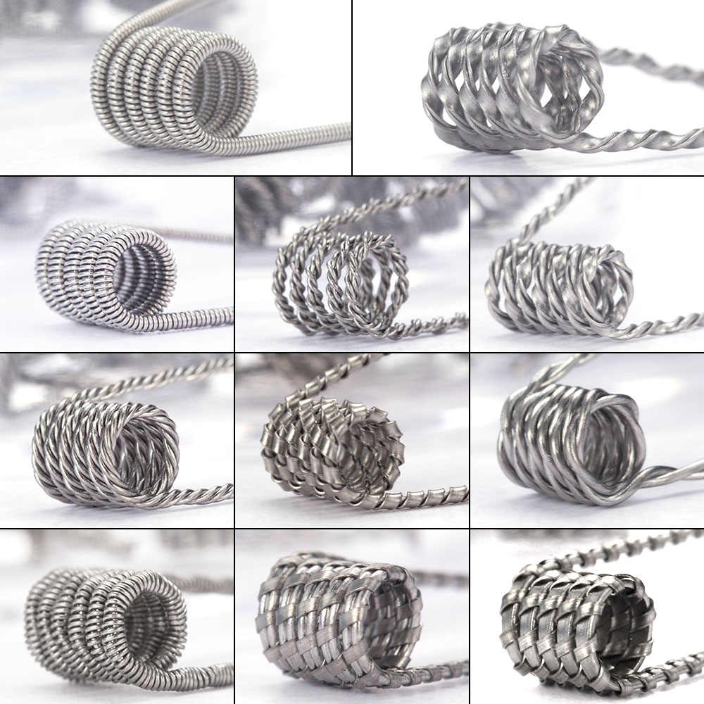 Coil Father 10pcs/box Alien Clapton Coil Flat Twisted Fused Clapton Quad Tiger Heating Electronic Cigarette Wire Premade Coil