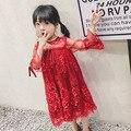 2017 de primavera de Encaje de Algodón Vestido de Las Muchachas de Cumpleaños Ocasión Formal Vestidos de Vestir para Niñas de Encaje de manga Princesa Children'sseven 4-10Yrs