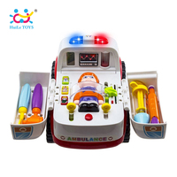 Free Shipping Huile Toys 836 Ambulance With Music Light Small Parts Child Puzzle Toy