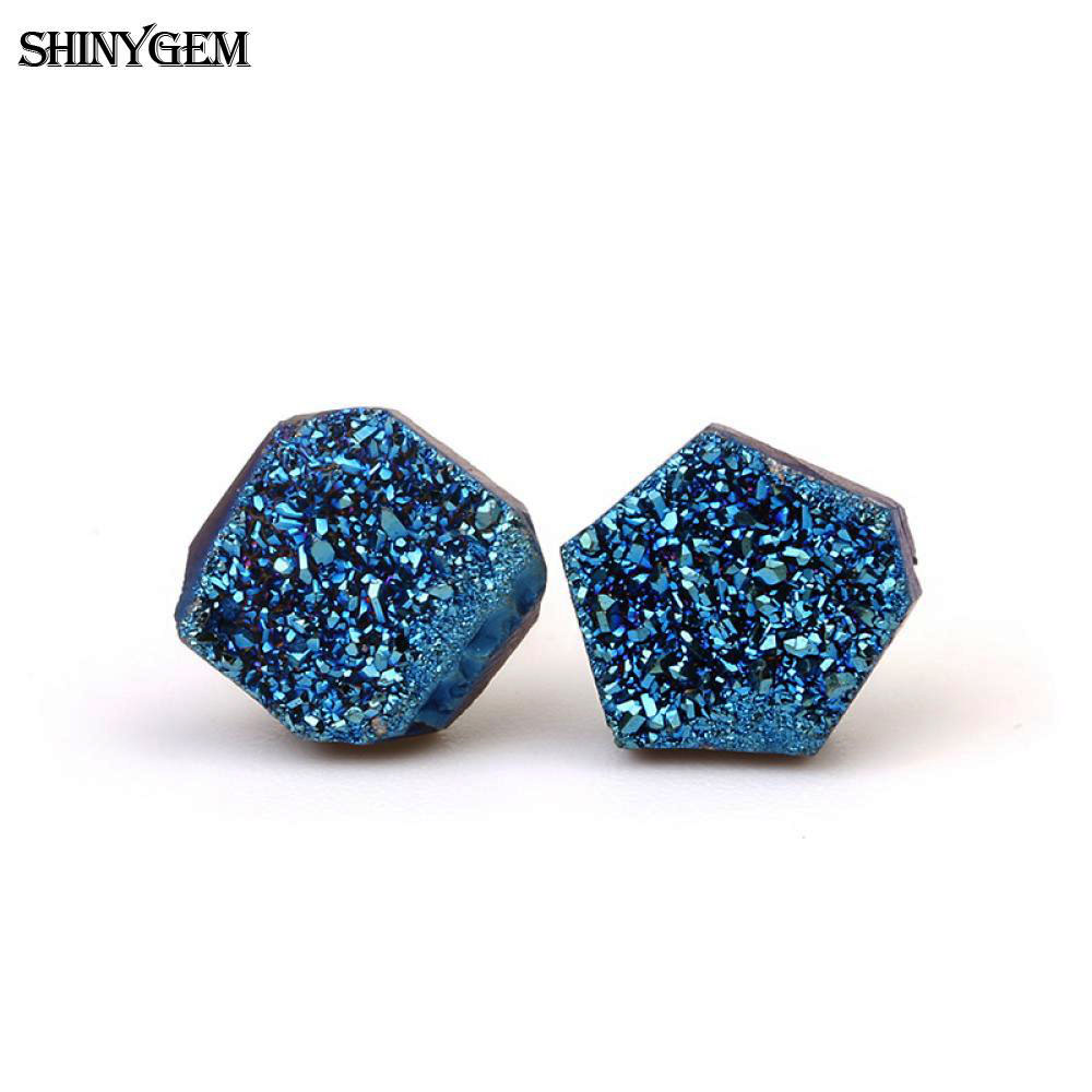 ShinyGem 6-9mm Anting Kristal Tidak Teratur 925 Sterling Sliver Stud Earrings Kecil Lucu Natural Quartz Druzy Earrings Untuk Wanita