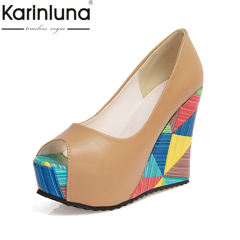 KARINLUNA Summer Lady Brand New Geometric Print High Heels Wedges Women Shoes Woman Peep Toe Platform Party Pumps Wedding summer platform wedges party shoes for woman extreme high heels sexy wedding shoes woman comfort female shoes heel