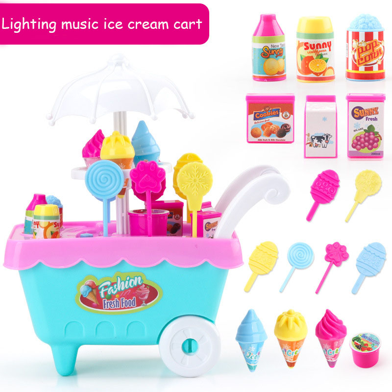 25pcs Simulation Supermarket Shopping Toy Music Mini Candy Hand Push Ice Cream Trolley Toys For Children Kids Creative DIY Gift ice cream cart toy
