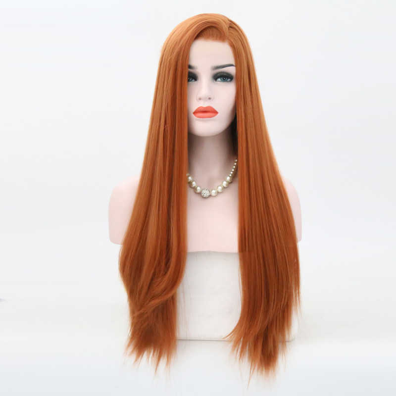 Peluca con malla frontal sintética de pelo largo liso resistente al calor de carisma con pelo de bebé, pelucas de fiesta de 26 pulgadas de densidad 180% para mujer
