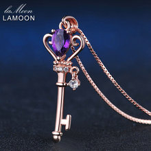 LAMOON Heart Key Pendant Necklace For Women Teardrop 0.4ct Natural Amethyst Rose Gold 925 Sterling Silver Fine Jewelry LMNI004