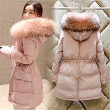 2016 Winter Women Hooded White Duck Down Jacket Medium-long Thicken Warm Loose Big yards Fur collar Solid color Women Coat G0349