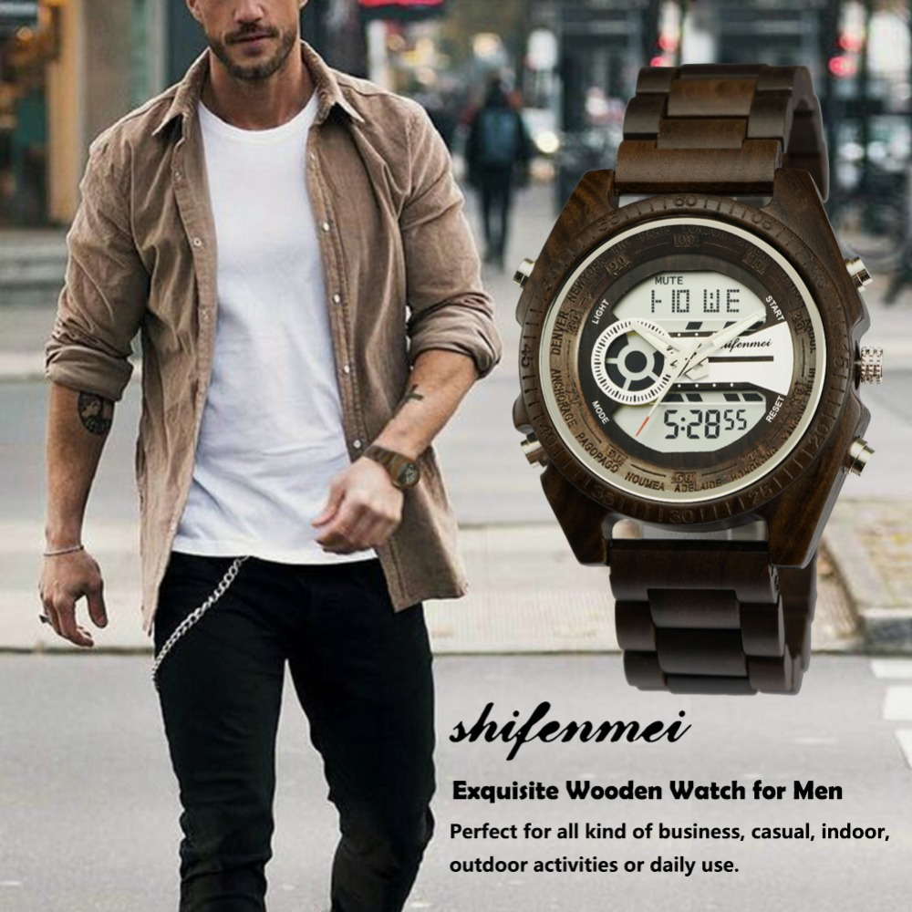 top luxury brand Shifenmei 2139 Antique Mens Zebra and Ebony Wood Watches with Double Display Business Watch in Wooden digital quartz watch drop shipping 2019 (10)