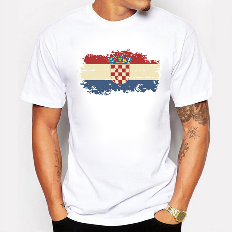 Drapeau de la Croatie T-shirts en coton à col rond, T-shirts Fans Drapeau de la Croatie de style d'été T-shirts de fitness