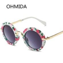 OHMIDA Nuevas Gafas de sol de Espejo Redondo de La Manera Niños Diseñador de la Marca Gafas de Sol Vintage Retro Gafas Gafas de Sol Gafas de Niño
